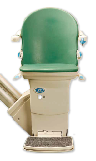 Stairlift seat with green cushion